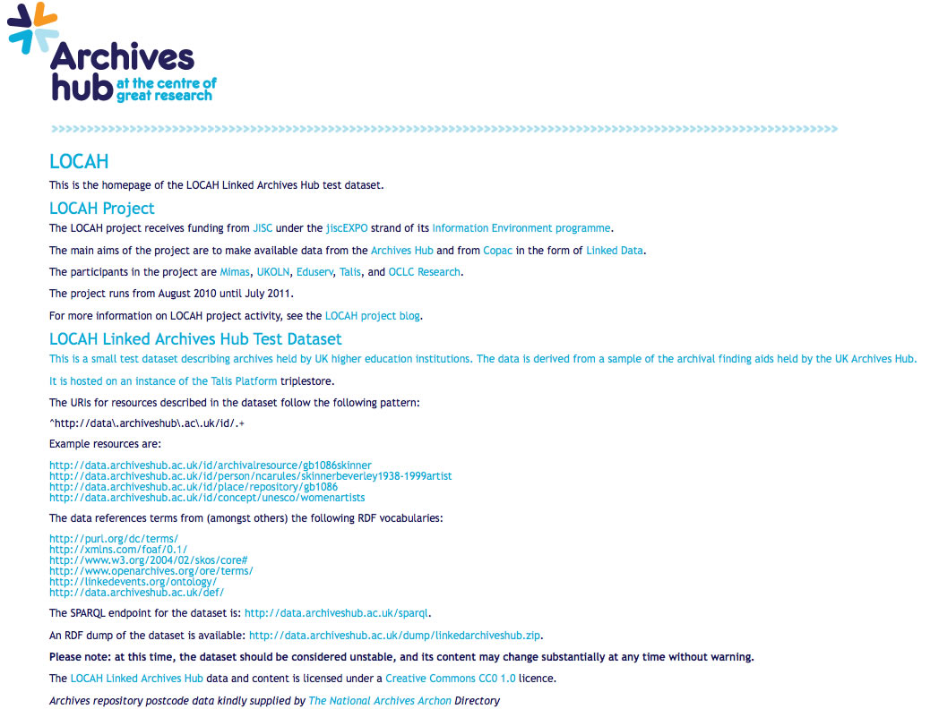 Screenshot of data.archiveshub.ac.uk homepage